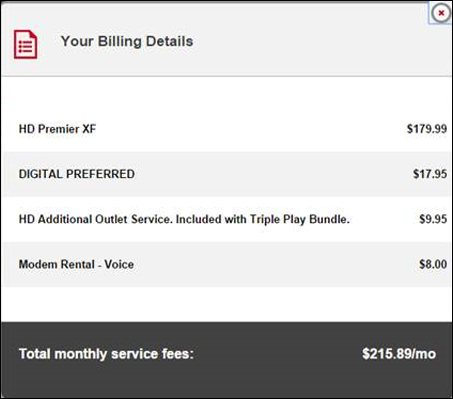 The Your Billing Details screen shows charges, package information, and total monthly service fees.