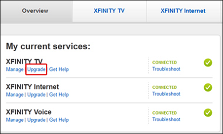 "XFINITY My Account (customer account management site) - ""Upgrade"" link appears under each service type in My Services tab."