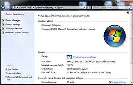 The General tab in the Control Panel displaying system information - Windows
