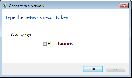 "After the ""Type the network security key"" message is a blank box in center screen next to Security Key.   There is an OK button and a Cancel button at the bottom of the window."
