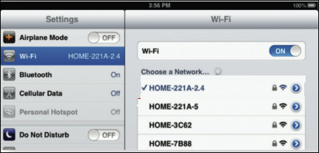 """The image displays a check mark next to a network in the """"Choose a Network..."""" screen."""