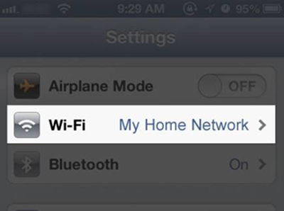 iOS - Wi-Fi option in Settings menu