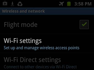 Android - Wireless and network menu