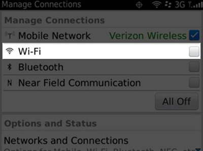 Blackberry - Manage Connections screen (Wi-Fi selected)