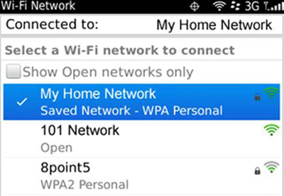 "Blackberry - ""Select a Wi-Fi network to connect"" screen"