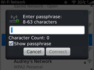 "Blackberry - ""Enter passphrase"" screen"