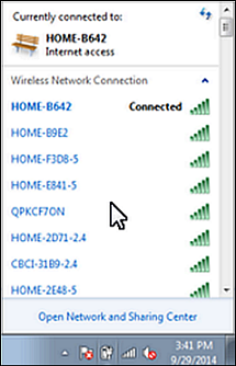 "The image displays a list of networks with the chosen one designated by ""Connected"" next to it."