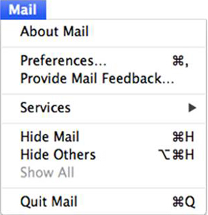 Mac OS X - Mail application - Mail menu