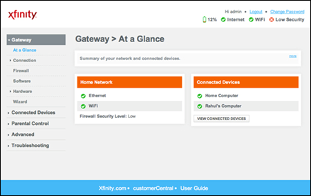 Wireless gateway Admin Tool - Gateway > At a Glance screen. The Change password link is in the upper right corner.