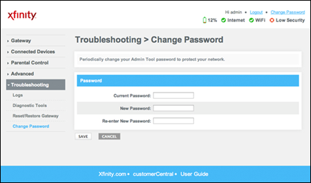 Wireless gateway Admin Tool - change password screen. Top to bottom, the fields are Current Password, New Password, Re-enter New Password. Save and Cancel buttons below.