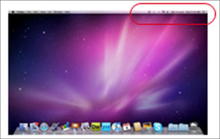Mac OS X - The wireless icon in the menu bar.