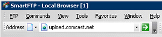 SmartFTP Page displays and in the address field upload.comcast.net shows.