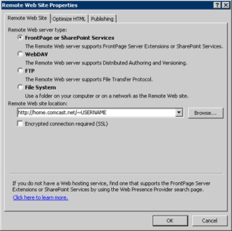 Remote Website Properties - Select FrontPage Server or Sharepoint Service and enter http://home.comcast.net/~comcastid
