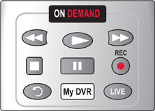 Image shows On Demand control buttons on Comcast remote control.