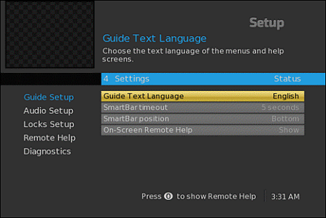 User experience of the DTA On-Screen Guide Setup screen. Guide Text Language option is highlighted center screen.
