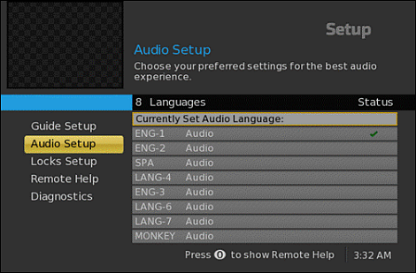 DTA On-Screen Guide Audio Setup screen listing language options.  This particular option has: ENG-1, ENG-2, SPA (Spanish), LANG-4, ENG-3, LANG-6, LANG-7, and MONKEY.