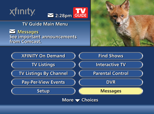 The on screen guide's main menu is displayed with Messages selected in the bottom-right corner of the menu screen