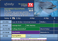 TV listings are displayed at the bottom of the screen.  The top-left of the screen shows a description of the selected program.  The current program continues to play in the top-right of the screen.