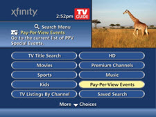 Pay per view events is selected from the menu