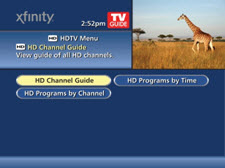 HD Channel Guide is selected from the menu