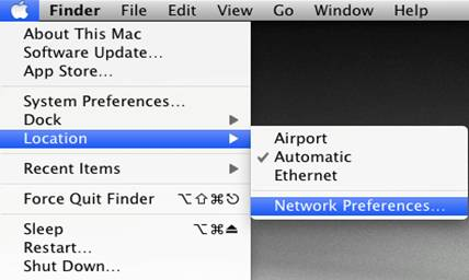 "Apple icon menu, with ""Location"" and then ""Network Preferences"" selected"