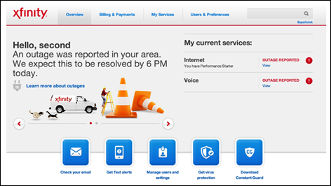 "A message near the top-left indicates ""An outage was reported in your area."" At the right of the screen are options to view outage information corresponding to service type (Internet, Voice, etc.)"