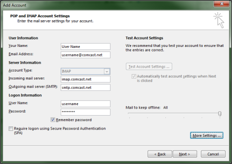 The POP and IMAP Account Settings screen is displayed with User, Server and Logon Information fields populated with the appropriate information.