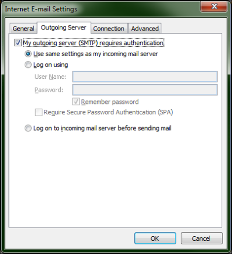 The Internet E-mail Settings screen is displayed. The appropriate Outgoing Server options are selected at the top.