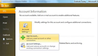 Outlook Express Info Tab - Under account Settings, choose Add Account.