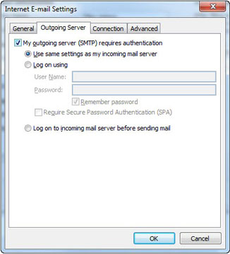 Outlook Express - Internet E-Mail Settings Window - Outgoing Server Tab - Check My Outgoing Server (SMTP) Requires Authentication, then select Use Same Settings As My Incoming Mail Server and click OK.