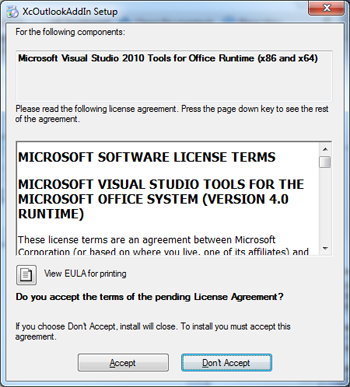 Accept and Don't Accept buttons are displayed beneath Microsoft's software license terms