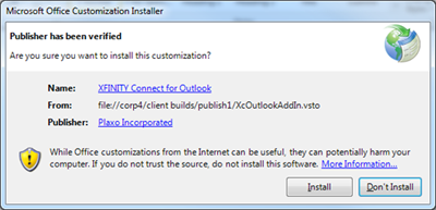 Install and Don't Install buttons are displayed on the Microsoft Office Customization Installer screen