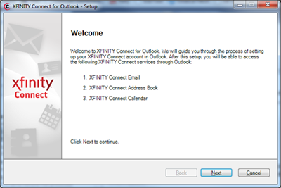 The XFINITY Connect welcome screen is displayed