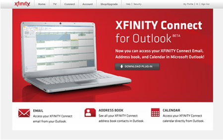 The XFINITY Connect for Outlook screen is displayed