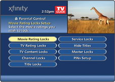 The Parental Control Main menu is displayed