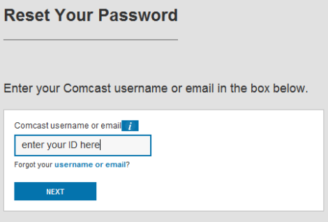 Reset Your Password screen has a field for entering Comcast username or email.