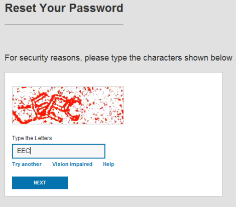 Reset Your Password screen shows a code to be typed in the field.