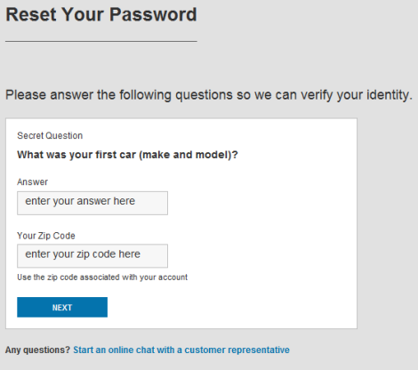 Reset Your Password screen asks for secret questions for identity verification.