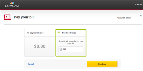 Pay Your Bill window displays amount due and payment options. Continue button at lower right.
