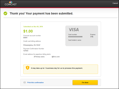 "Confirmation screen reads: ""Thank you! Your payment has been submitted."" Payment source and amount are displayed as well as a message noting how long the payment will take to process."
