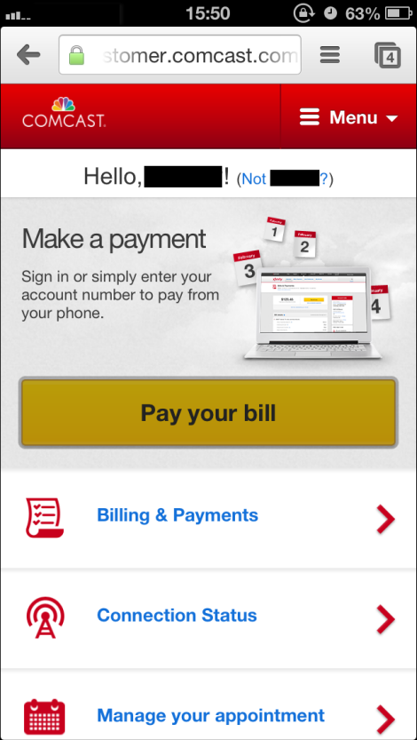 Mobile Pay your bill window