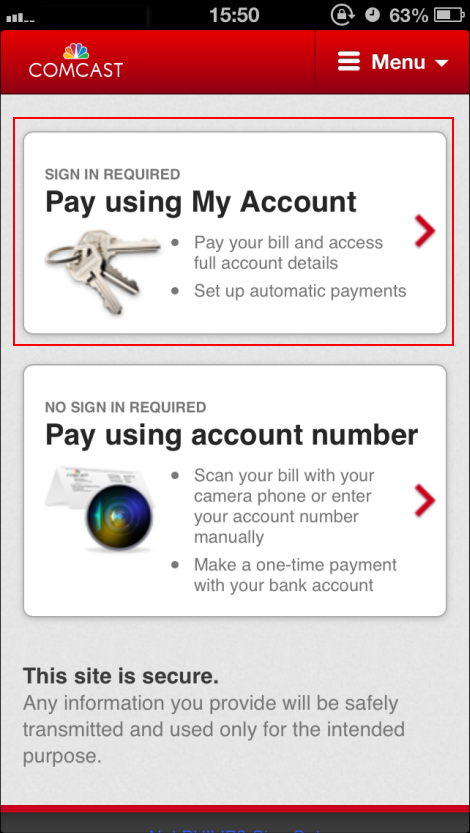Choose Pay Using My Account or Pay Using Account Number
