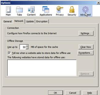 Firefox Options Window - Click the Advanced Icon