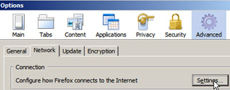Firefox Options Window - Network Tab - Click Settings