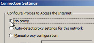 Firefox Connection Settings Window - Click the No Proxy option