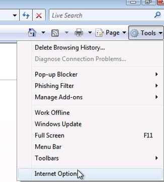 Internet Explorer - In Tools drop down menu, select Internet Options