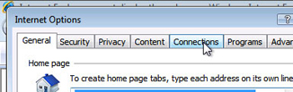 Internet Explorer - In Internet Options window, select the Connections tab
