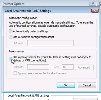 Internet Explorer - LAN Settings - Click the Use a proxy server for your LAN box to uncheck then click OK