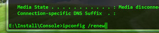 In Console Command Window, on the line below Connection-specific DNS suffix,  type E:InstallConsole>ipconfig/renew