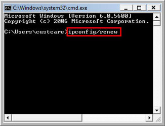 In the CMD window, type C:Userscustcare>ipconfig/renew and hit Enter.